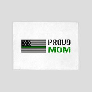 U.S. Flag Green Line: Proud Mom (Wh 5'x7'Area Rug