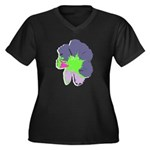 Groovy Flower Women's Plus Size V-Neck Dark T-Shir