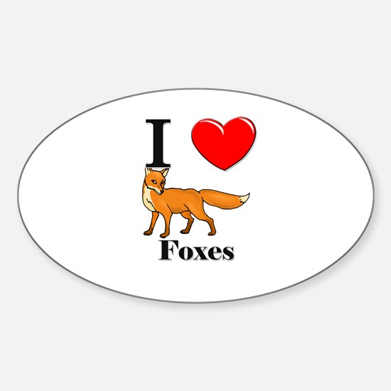 I Love Foxes Oval Decal