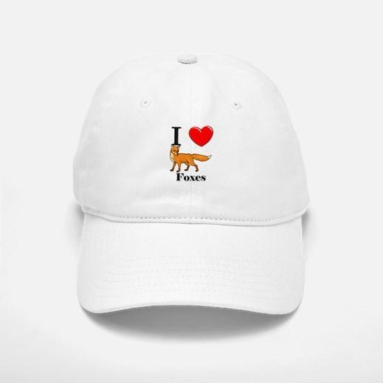 I Love Foxes Baseball Baseball Cap