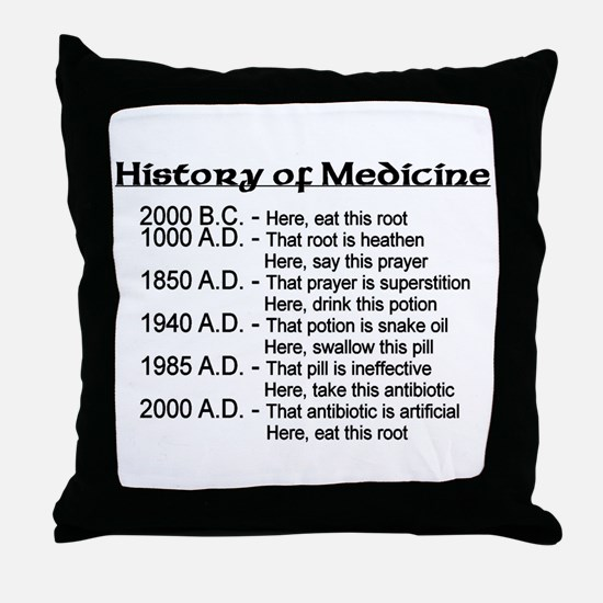 History of Medicine Throw Pillow