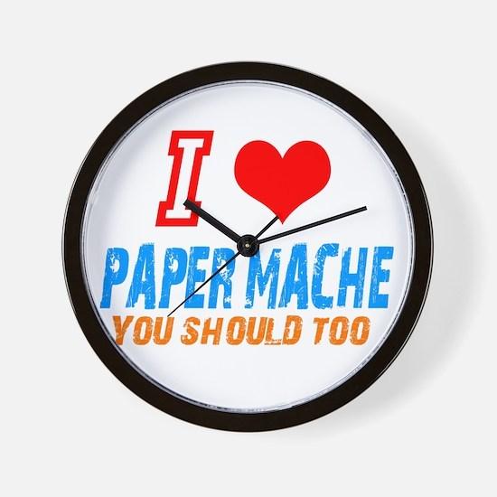I love Paper mache Wall Clock