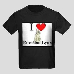 I Love Eurasian Lynx Kids Dark T-Shirt