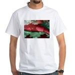 Rich Reds Fractal Pattern White T-Shirt