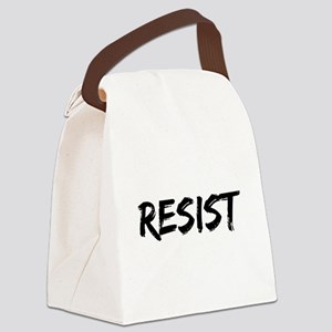 Resist In Black Text Canvas Lunch Bag