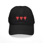 Strawberry Hearts Black Cap