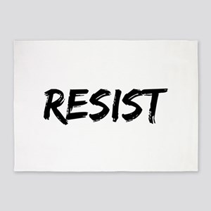 Resist In Black Text 5'x7'Area Rug