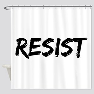 Resist In Black Text Shower Curtain