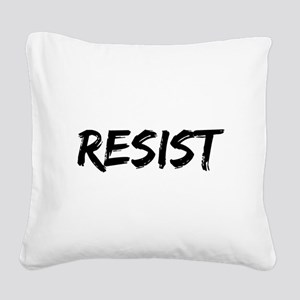 Resist In Black Text Square Canvas Pillow
