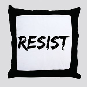 Resist In Black Text Throw Pillow