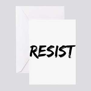 Resist In Black Text Greeting Cards