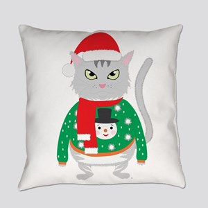 The isolated cute cat wearing a si Everyday Pillow