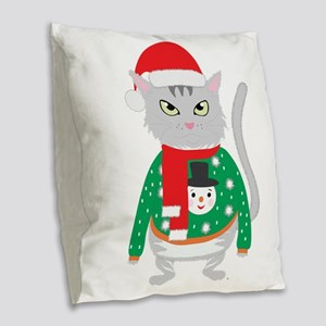The isolated cute cat wearing Burlap Throw Pillow