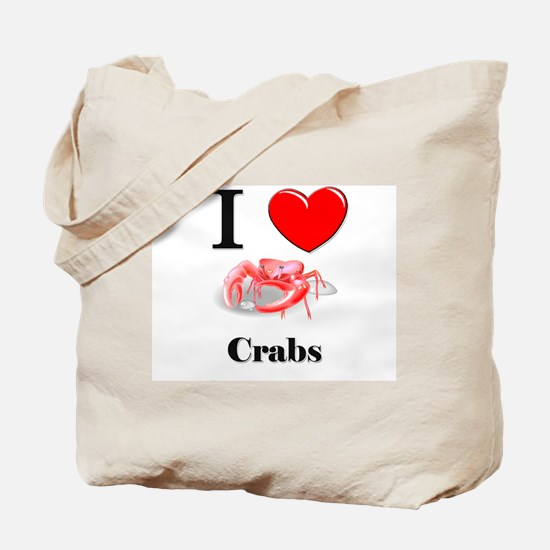 I Love Crabs Tote Bag