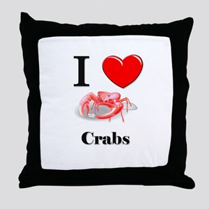 I Love Crabs Throw Pillow