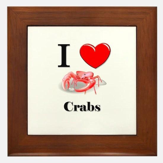 I Love Crabs Framed Tile