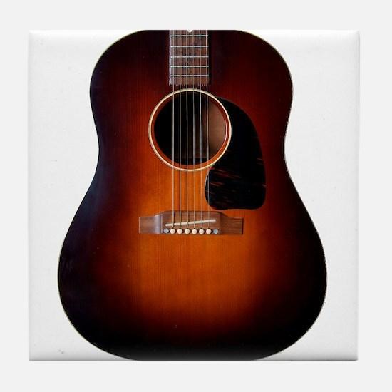 Classic Gibson Sunburst on a Tile Coaster