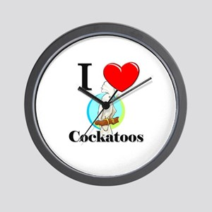 I Love Cockatoos Wall Clock