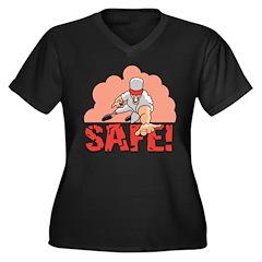 Baseball Safe Women's Plus Size V-Neck Dark T-Shir