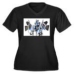 Lighting Women's Plus Size V-Neck Dark T-Shirt