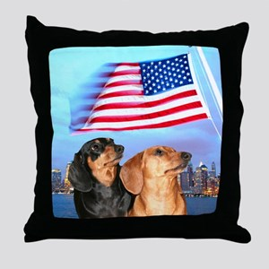 USA Dachshunds Throw Pillow