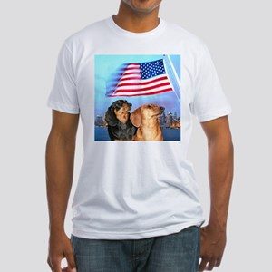 USA Dachshunds Fitted T-Shirt