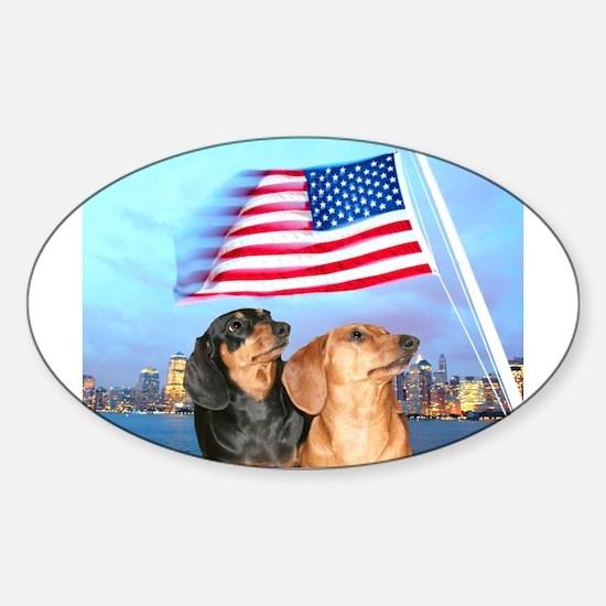 USA Dachshunds Oval Decal