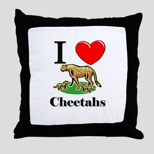 I Love Cheetahs Throw Pillow