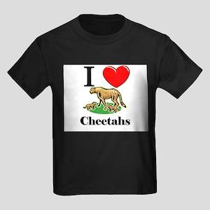 I Love Cheetahs Kids Dark T-Shirt