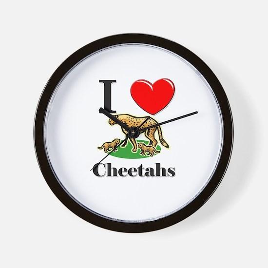 I Love Cheetahs Wall Clock