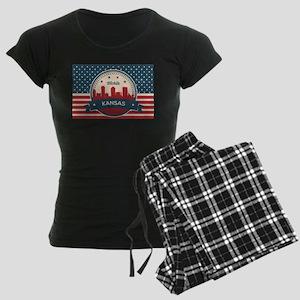 Retro Wichita Kansas Skyline Pajamas