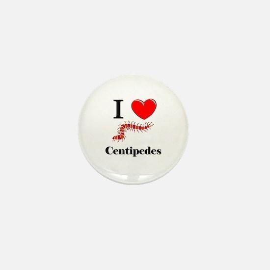 I Love Centipedes Mini Button