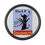 Black Dog Doughnuts Large Wall Clock