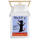 Black Dog Doughnuts Twin Duvet Cover