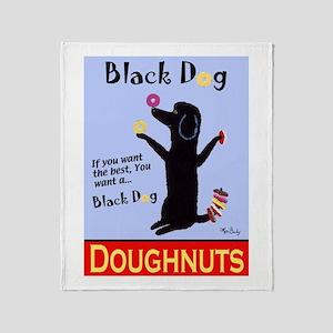 Black Dog Doughnuts Throw Blanket