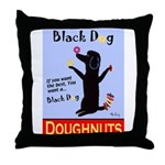 Black Dog Doughnuts Throw Pillow