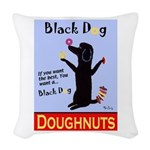 Black Dog Doughnuts Woven Throw Pillow