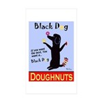 Black Dog Doughnuts Sticker (Rectangle 50 pk)