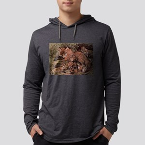 Vintage Fox and Cubs Painting Long Sleeve T-Shirt