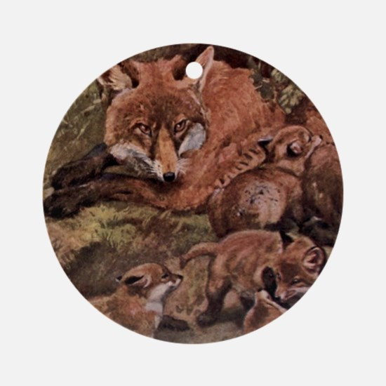 Vintage Fox and Cubs Painting (1909 Round Ornament