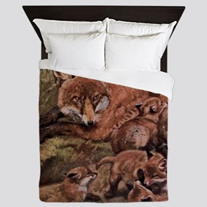 Vintage Fox and Cubs Painting (1909) Queen Duvet