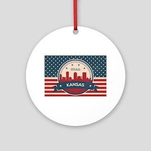 Retro Wichita Kansas Skyline Round Ornament