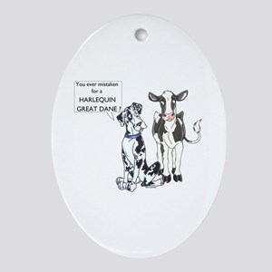 N Great Dane & Cow Keepsake (Oval)