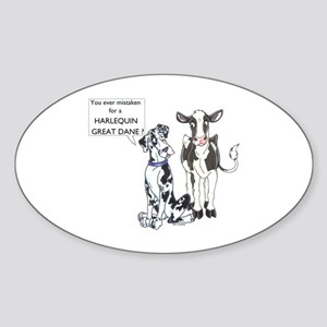N Great Dane & Cow Oval Sticker