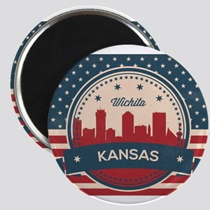 Retro Wichita Kansas Skyline Magnets