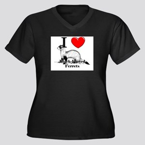I Love Black-Footed Ferrets Women's Plus Size V-Ne