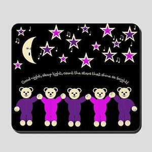 purple and pink sleepy bears Mousepad