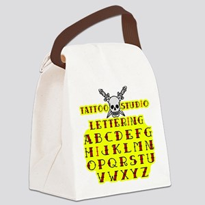 Tattoo Lettering Canvas Lunch Bag