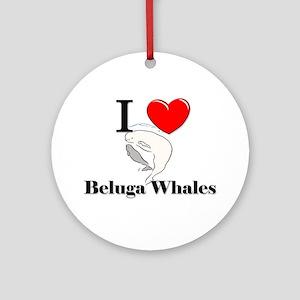 I Love Beluga Whales Ornament (Round)