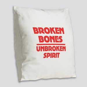 Broken bones Burlap Throw Pillow